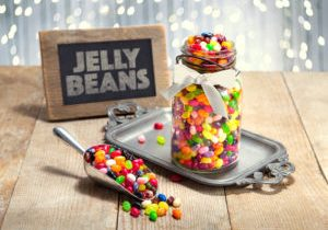 Colorful jelly Beans candy dessert table at a holiday event cele